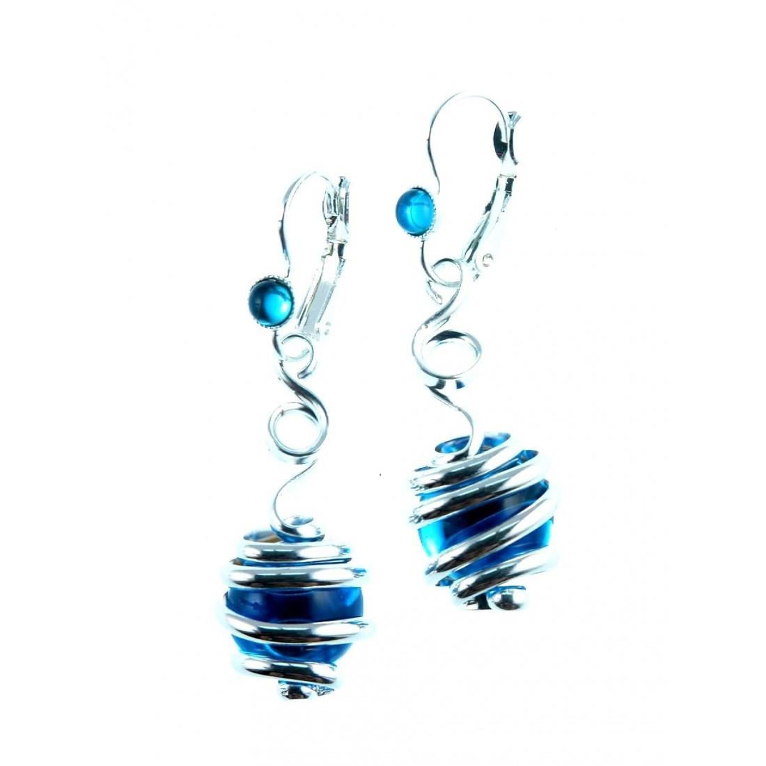 Bijoux d'artiste-boucles d'oreilles fantaisie bleues