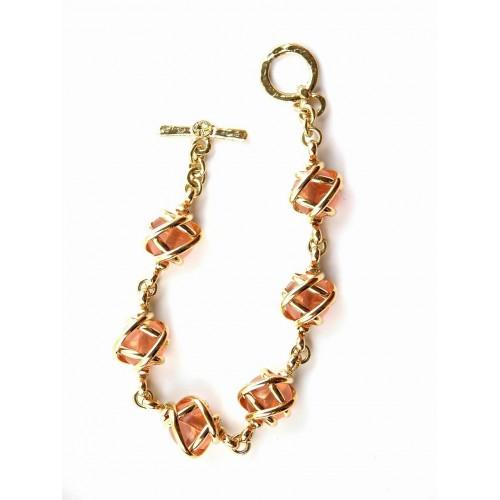 Bracelet doré pierres roses-création artisanale