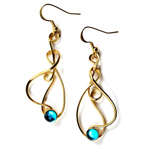 Création made in France-boucles d'oreilles bleues