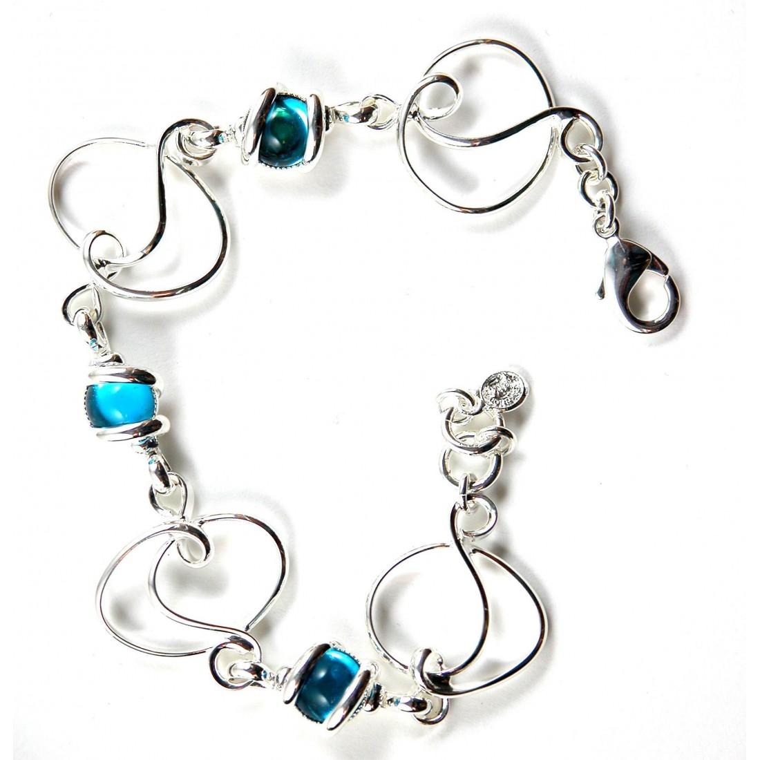 Bracelet artisanal argent et bleu-Atelier PIK
