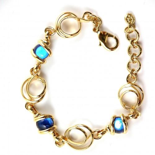 Bracelets artisanaux-création or et bleu pour femme