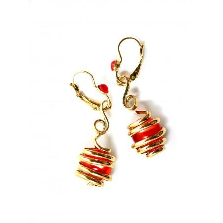 boucles d'oreilles or et orange-bijoux fantaisie