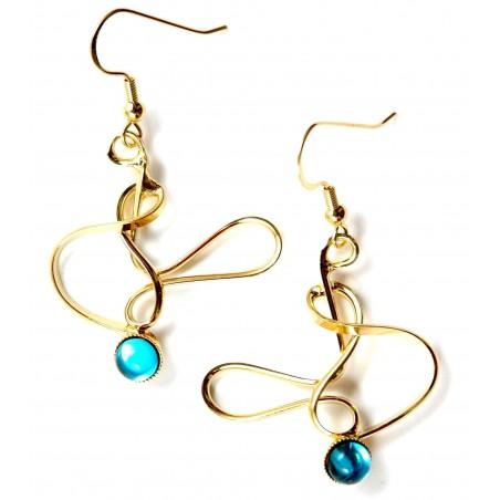 Boucles d'oreilles de créateur-bijoux artisanaux or et bleu