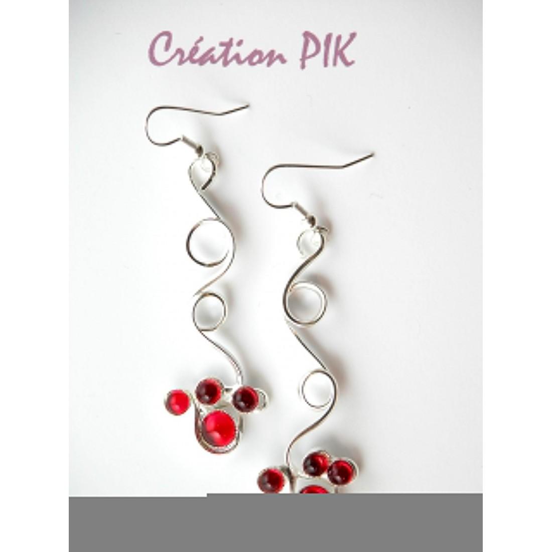 Boucles d'oreilles rouges-bijoux fantaisie de créateur Atelier PIK