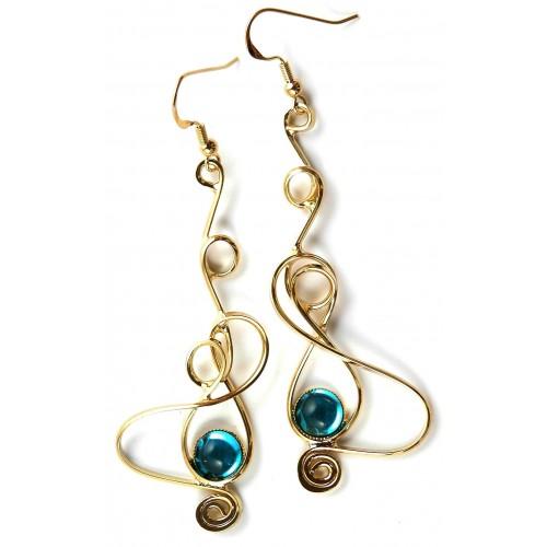 bijoux création française-boucles d'oreilles bleues