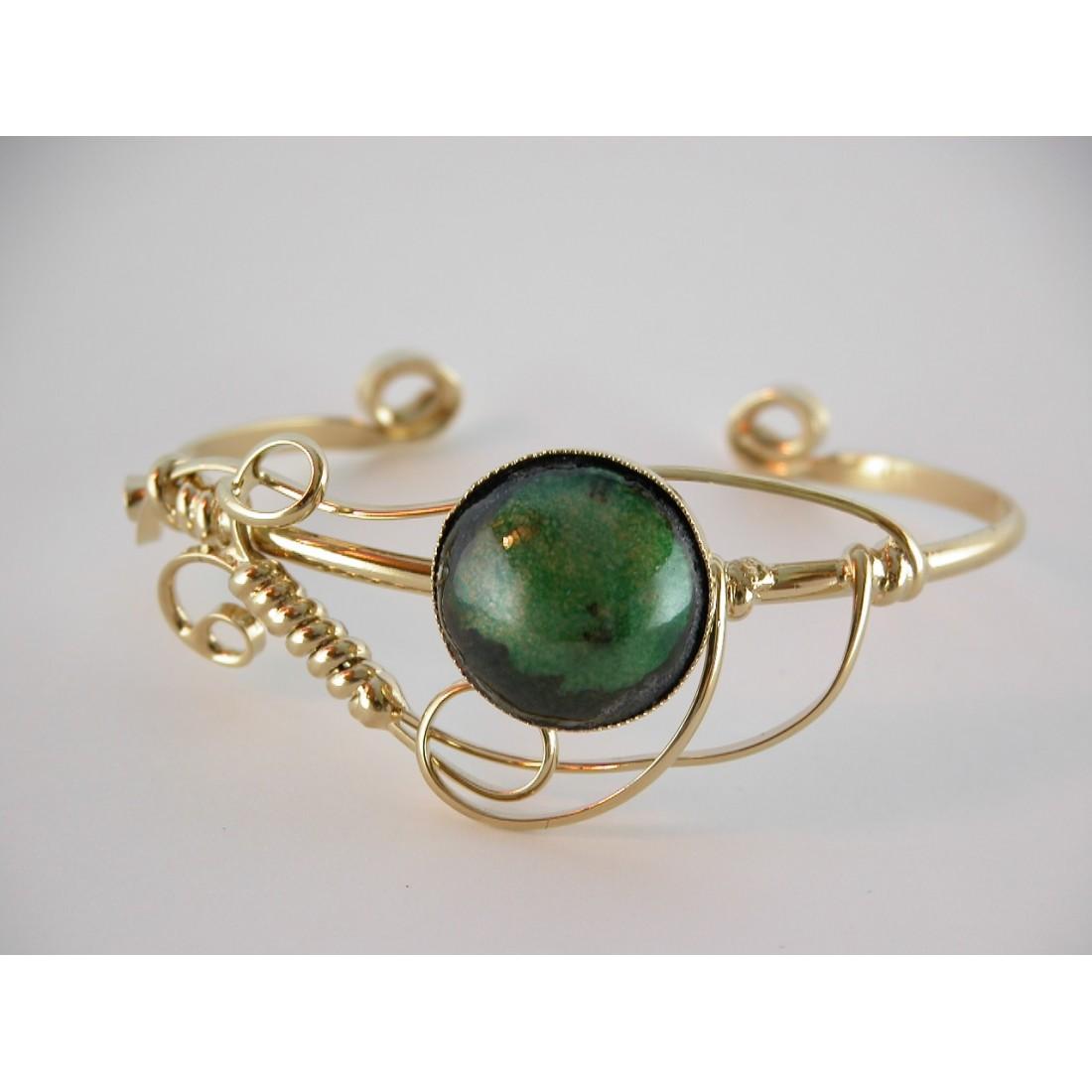 Bracelet fantaisie en émail, bijou d'artiste, création française