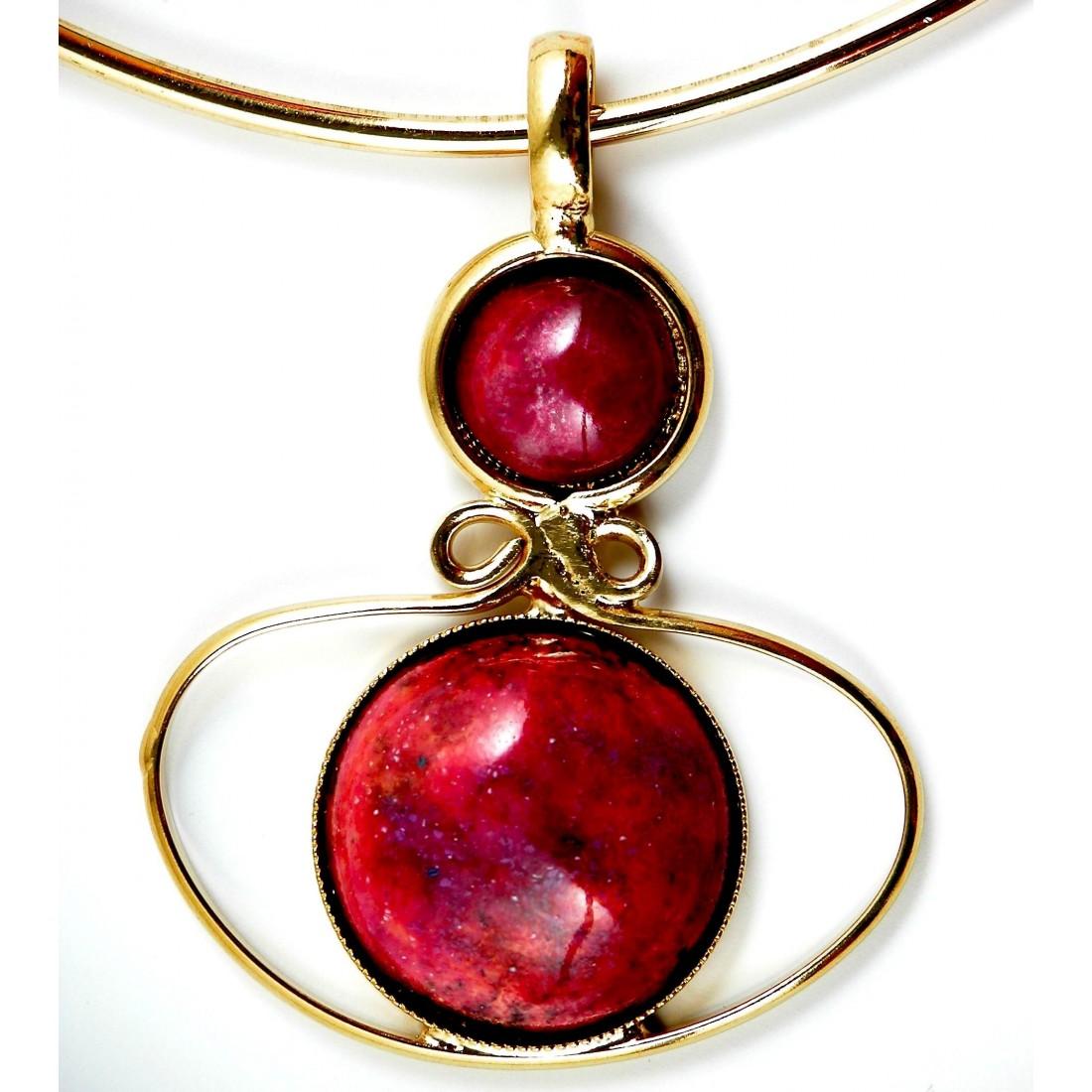 Collier d'art en émail-bijou d'artiste doré