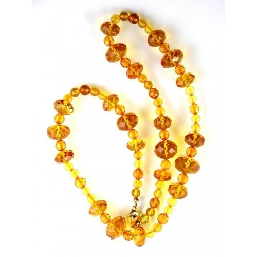 Collier d'ambre naturel à facettes