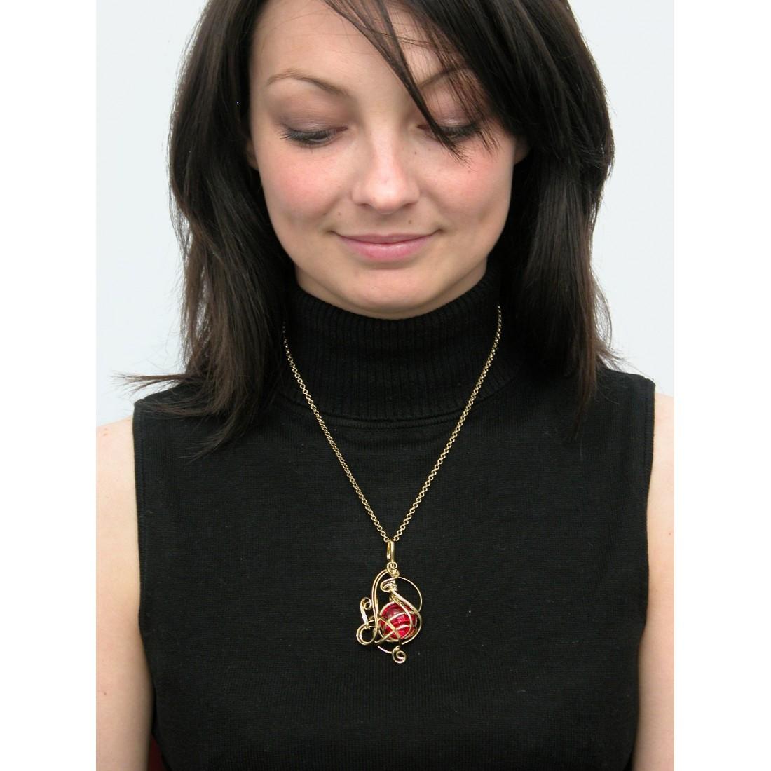 Pendentif de créateur-bijou artisanal en métal de couleur bronze