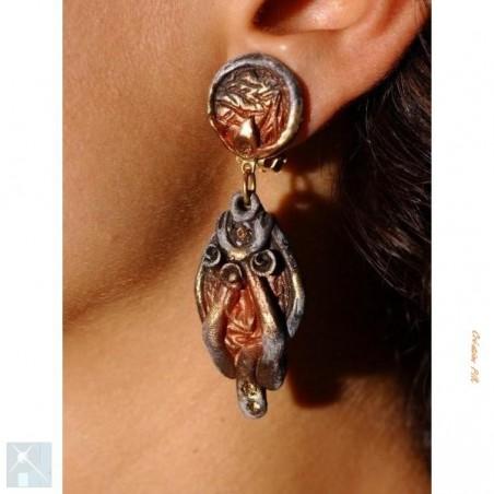 Boucles d'oreilles pendantes à clips, bijoux artisanaux