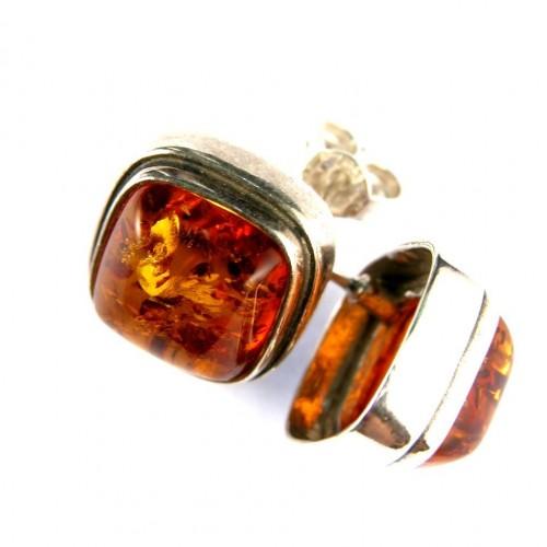 Boucles d'oreilles carrées à clips avec ambre
