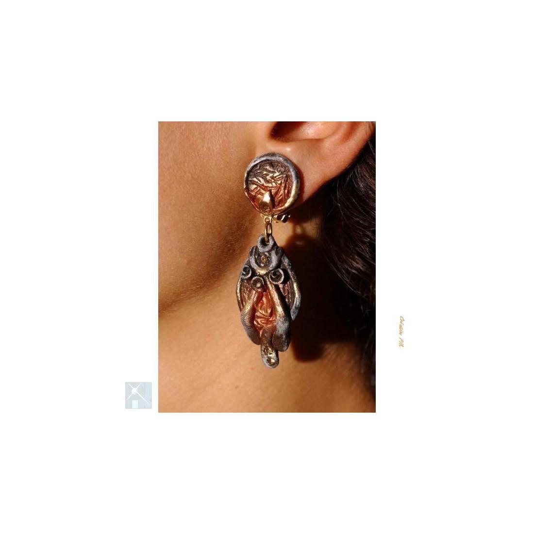Boucles d'oreilles clips en résine couleur cuivrée