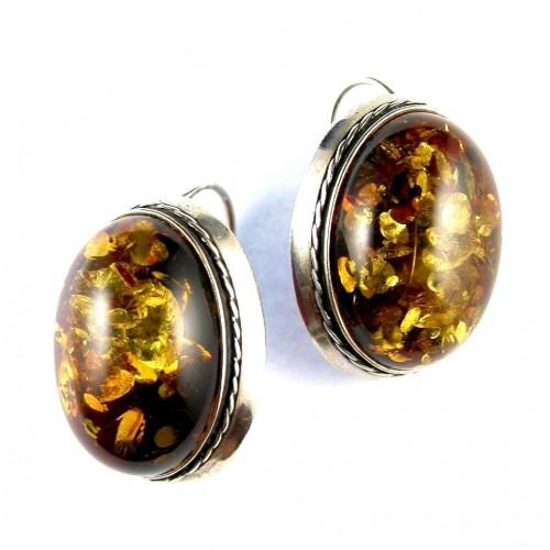 Grandes boucles en ambre et argent
