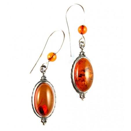 Boucles d'oreilles pendantes-bijoux en ambre et argent