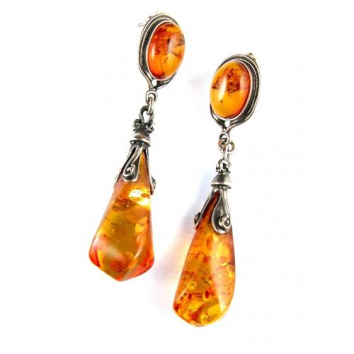 Grandes boucles d'oreilles pendantes en ambre