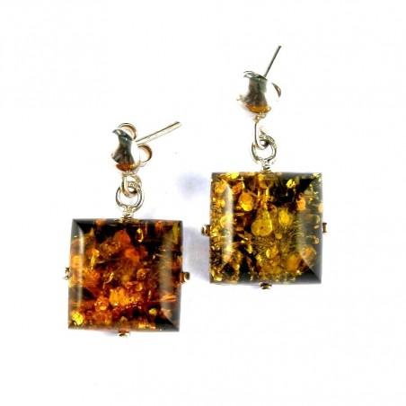 Boucles d'oreilles carrées en ambre et argent