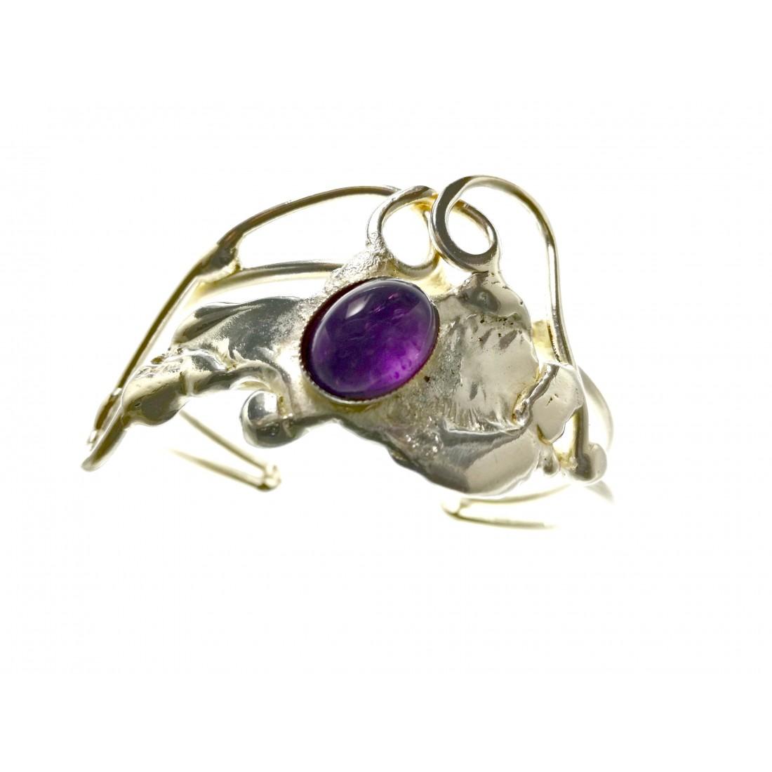 Bracelet artisanal baroque argent et améthyste