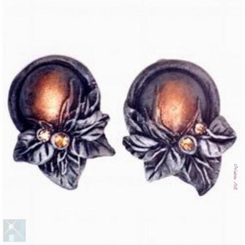 Boucles d'oreilles à clips en résine couleur cuivre et doré