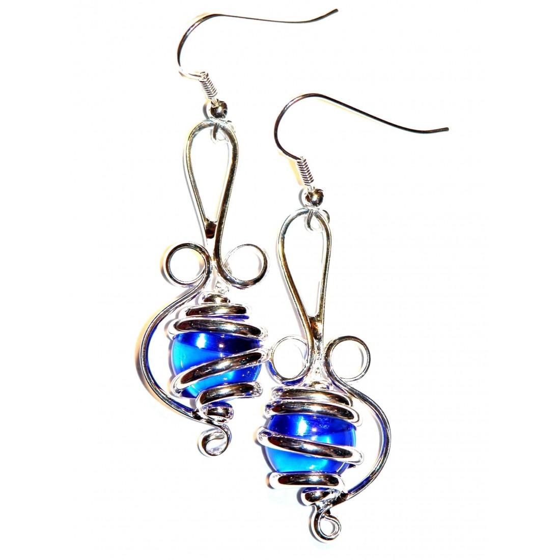 Bijou de créateur-boucles d'oreilles argent et bleu