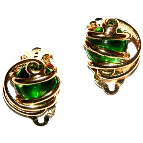Boucles d'oreilles clips artisanales or et vert