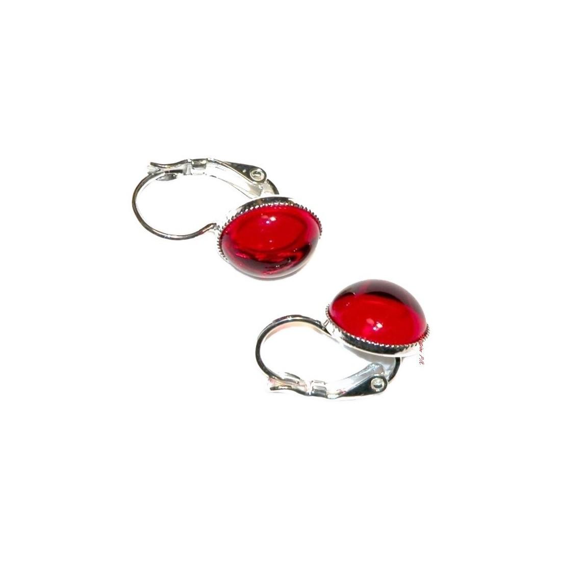 Boucles d'oreilles dormeuses, argent et rouge
