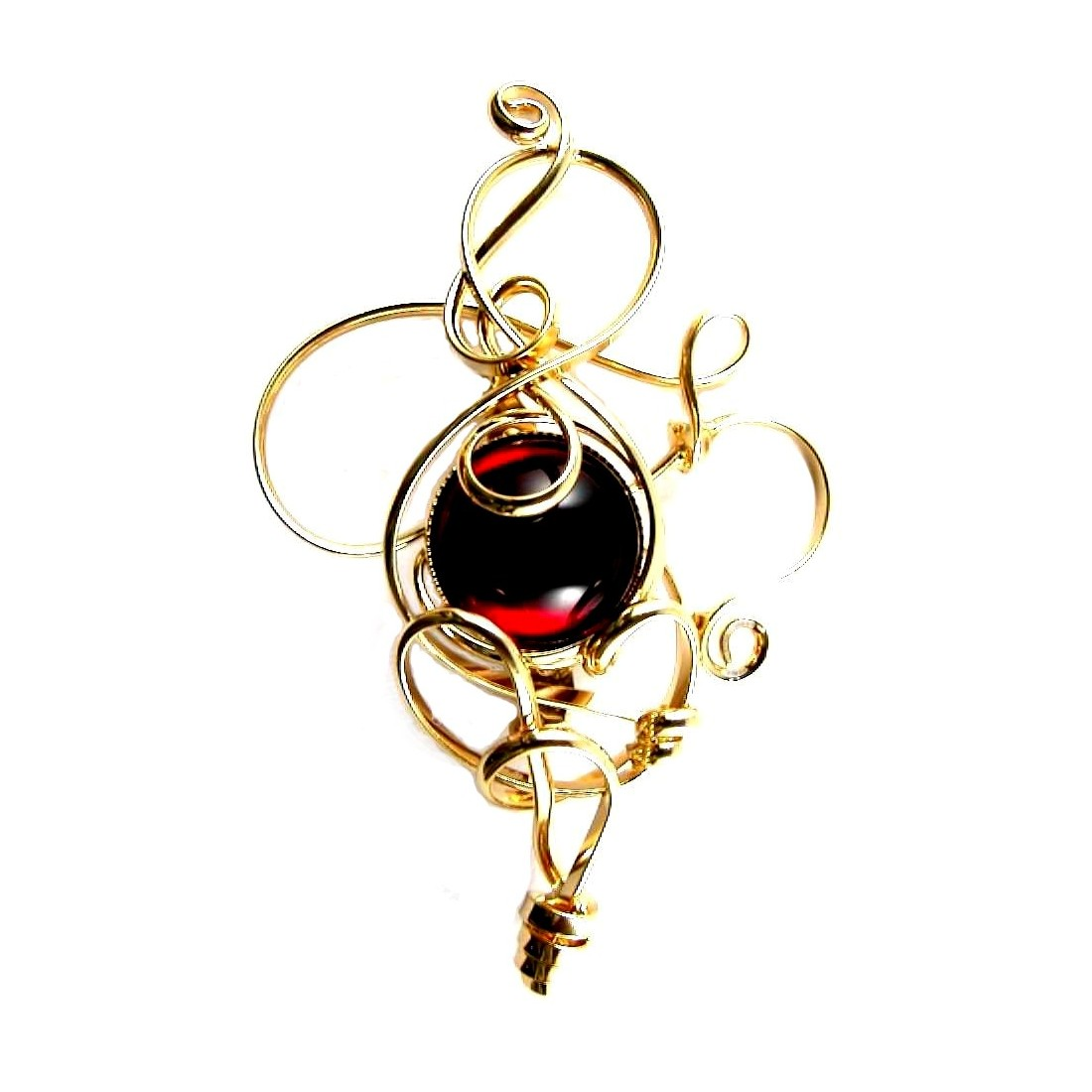 Broche artisanale dorée, sobre et élegante-or et rouge