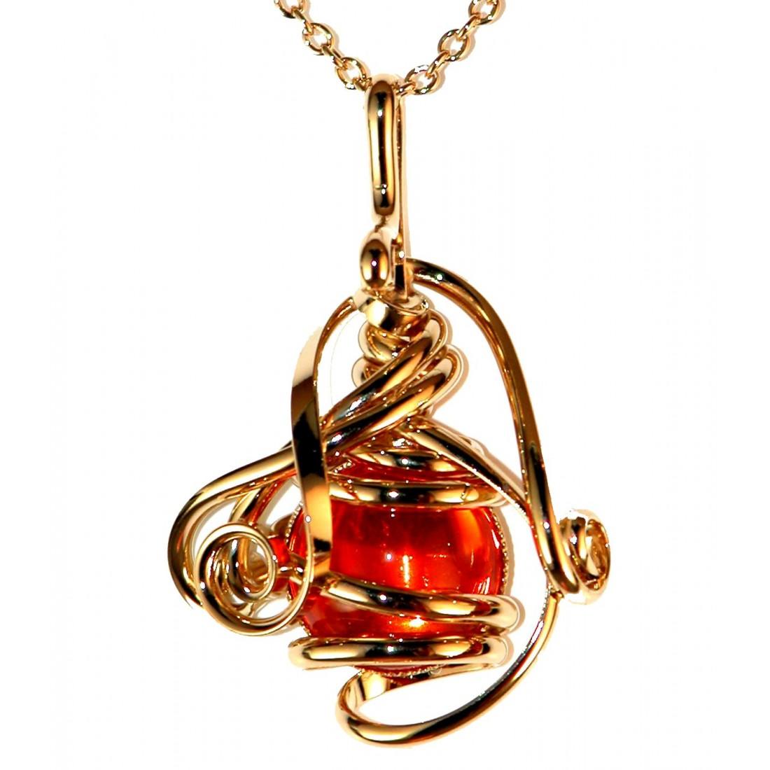 Petit pendentif or et orange-bijou fait main