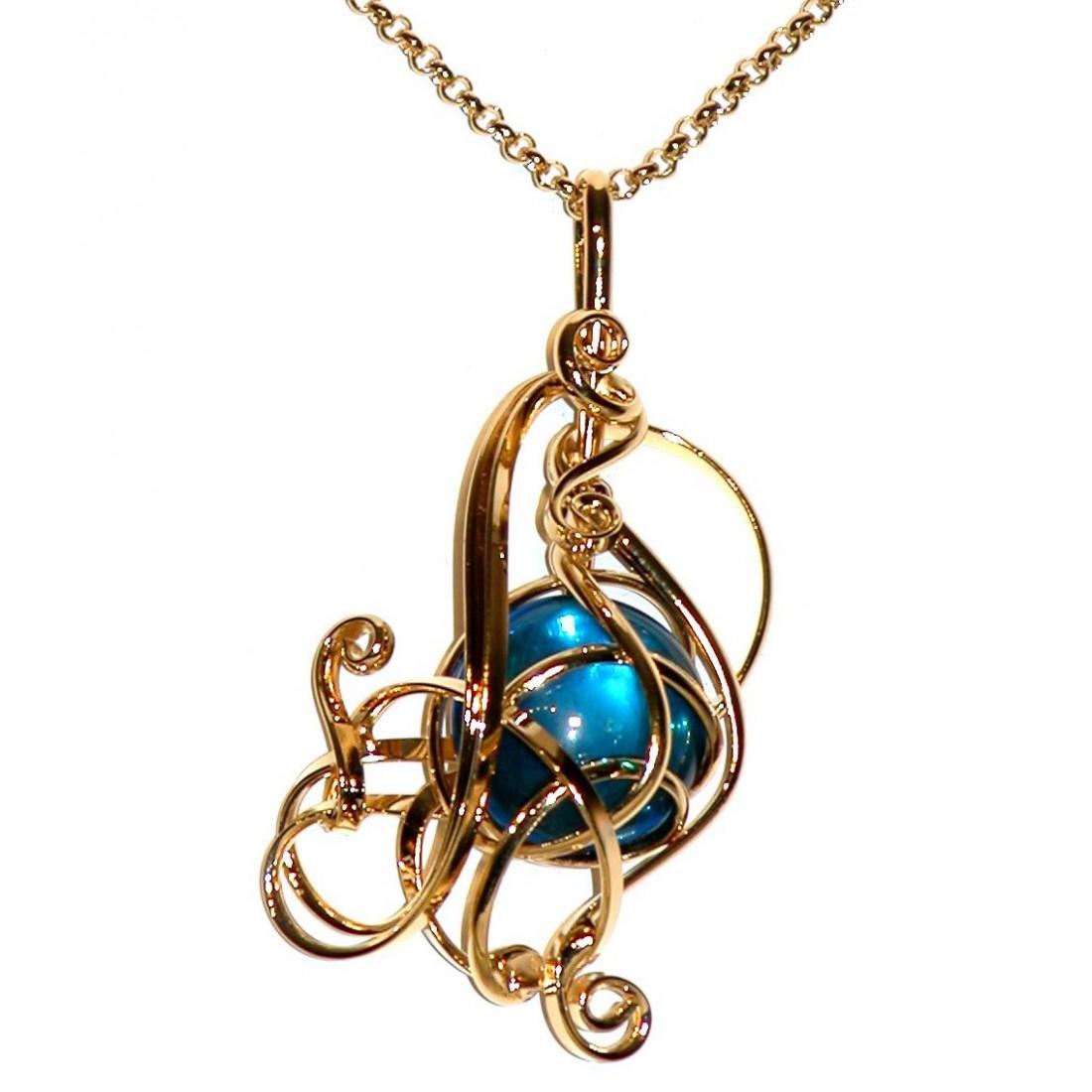 Très joli pendentif doré aux courbes délicates et légères-bijou fait main