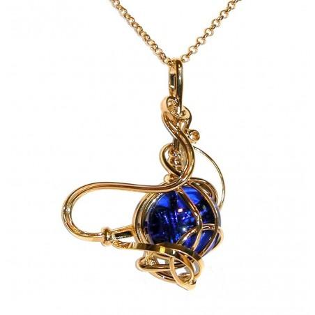 Pendentif fantaisie doré, pierre bleue