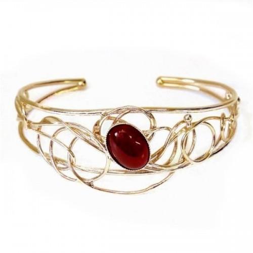 Bracelet doré avec une pierre fine-bijou fait main