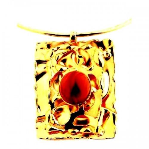 Grand collier artisanal doré avec une pierre cornaline
