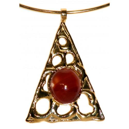 Collier unique-triangle avec la cornaline