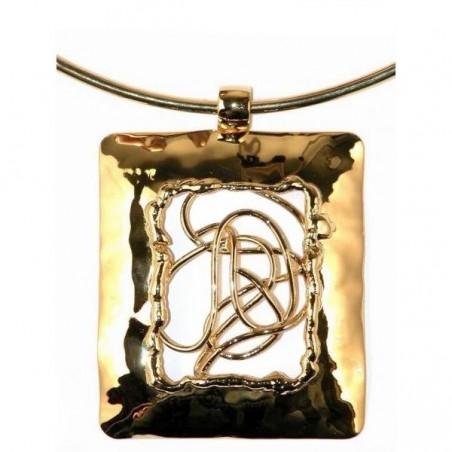 Collier rectangulaire, bijou fantaisie original, doré de créateur français