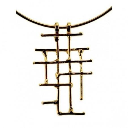 Collier artisanal, bijou doré contemporain, aérien et léger