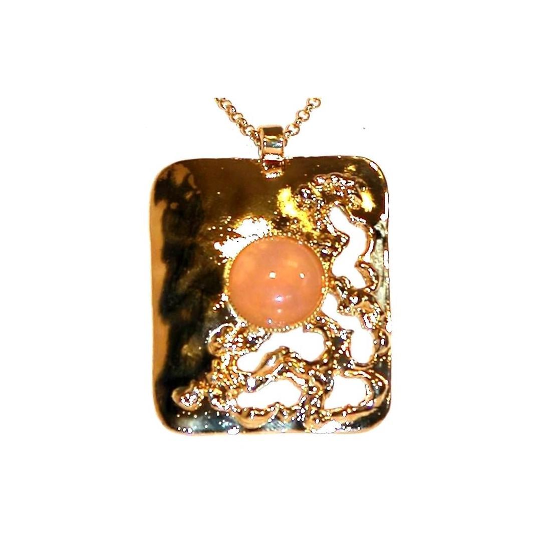 Pendentif  avec une pierre semi-précieuse quartz rose