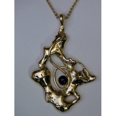 Pendentif doré-pierre onyx