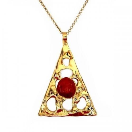 Pendentif doré avec une pierre fine la cornaline. Bijou unique fait main.