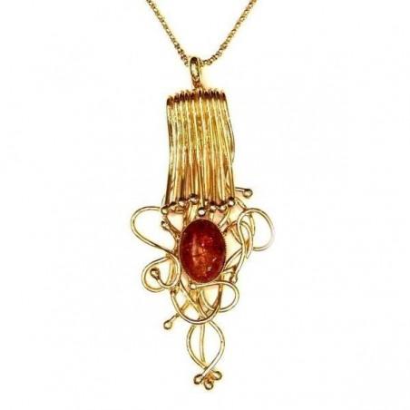 Somptueux pendentif artisanal, création de bijoux en fil de laiton