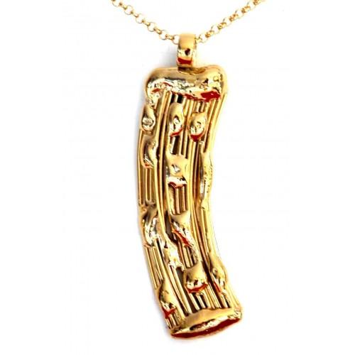 Long pendentif courbé de couleur dorée, bijou unique fait main