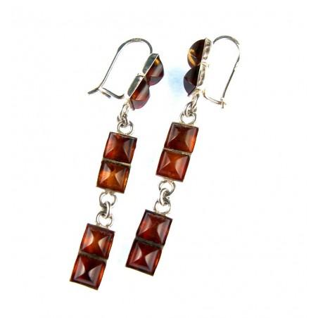 Boucles d'oreilles trois éléments en argent et ambre