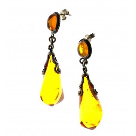 Boucle d'oreille grosse goutte en ambre