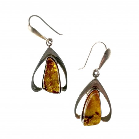 Boucles d'oreilles modernes en argent avec ambre