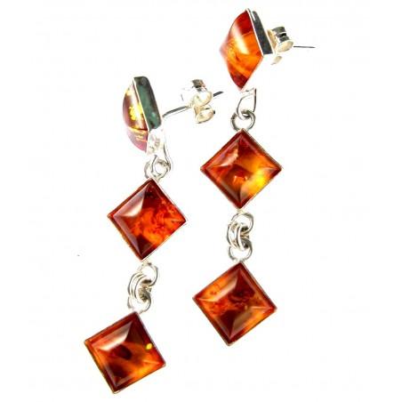 Boucles d'oreilles pendantes en argent et ambre