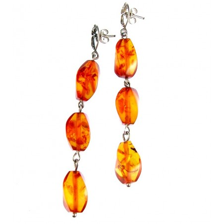 Boucles d'oreilles tois éléments en ambre