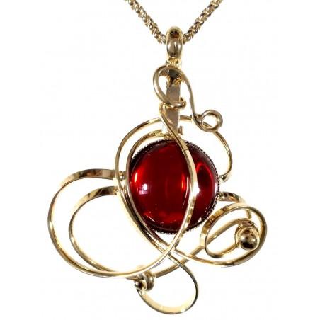 Pendentif doré pierre rouge-bijou unique