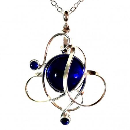 Petit pendentif argent et bleu saphir-bijou unique