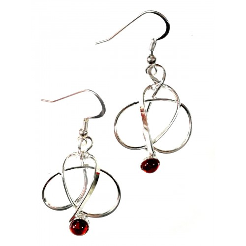 Bijoux fantaisies- boucles d'oreilles argent et rouge rubis.
