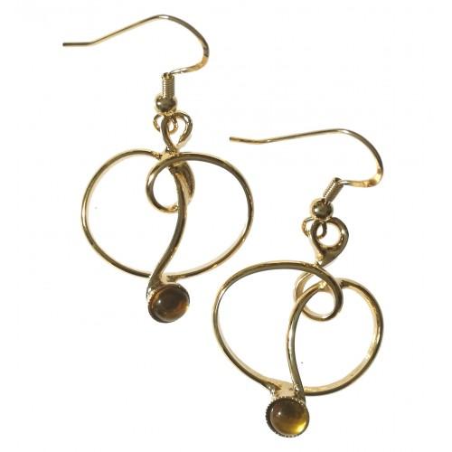 Bijoux fantaisie artisanaux--boucles d'oreilles dorées.