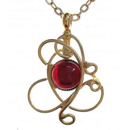petit pendentif fin-bijou unique or et rouge rubis