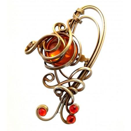 Broche artisanale couleur bronze-bijou fantaisie